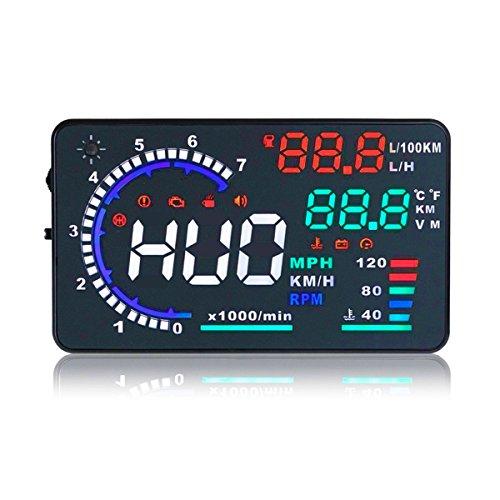 ニコマク NikoMaku HUD ヘッドアップディスプレイ A8 OBD2 大画面 カラフル 日本語説明書 車載スピードメーター ハイブリッド車対応 過速度警告搭載 時速をフロントガラスに