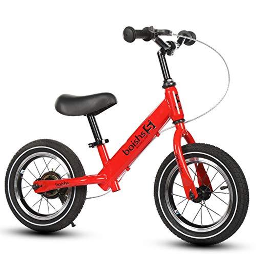 LIMUZI Laufen Laufrad for Kinder 2 Jahre alt mit Luftreifen und Bremsen - 10 Zoll Sport Edition Innen Draussen (Color : Red)