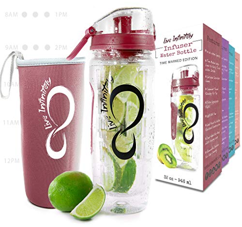 Live Infinitely 32 oz. Fruit Infuser Water Bottles With Time Marker, Insulation Sleeve & Recipe eBook - Fun & Healthy Way to Stay Hydrated (Burgundy Timeline, 32 Ounce)