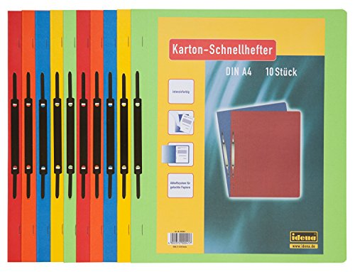 Idena 300041 - Kartonschnellhefter, 250 g/m², DIN A4, 5-fach farbig sortiert, 1 Set mit 10 Stück