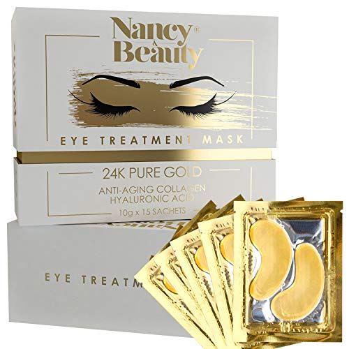 Under Eye Patches - 24K Gold Eye Treatment Masks, Dark Circles Under Eye Treatment, Under Eye Bags Treatment, Collagen Eye Mask for Puffy Eyes, Anti-Wrinkle, Undereye Dark Circles,15 Pairs Gel Pads