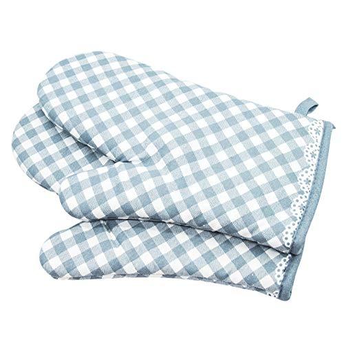 Voarge 1 Paar Verdickte Hitzebeständige Ofenhandschuhe, Backofenhandschuh Hitzebeständig, Ofenhandschuhe Rutschfeste Baumwolle, Gitter-Stil blau