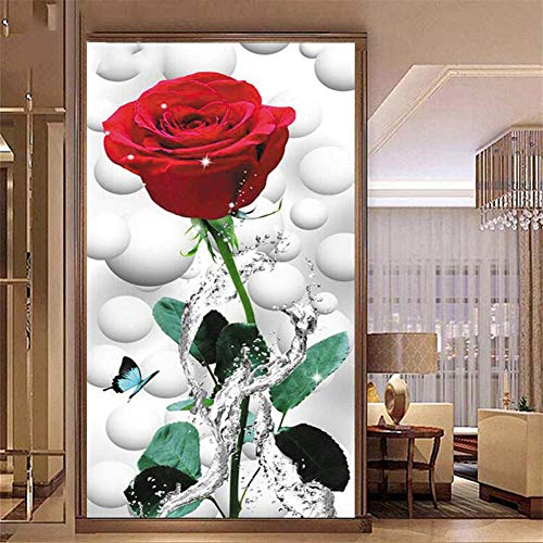 DIY 5D Diamante Pintura por Números Kit amante roja rosa completo Round Taladro Diamond Painting Grande Bordado Punto de Cruz Rhinestone Art Manualidades Decor de pared del hogar(60x120cm,24x48in)