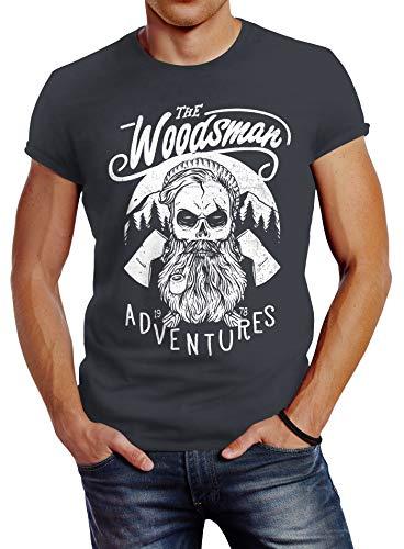 Neverless Herren T-Shirt Lumberjack Woodsman Hipster Bart Beard Skull Totenkopf Slim Fit dunkelgrau 3XL