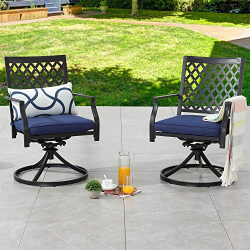 Top Space Outdoor Chair Patio Chairs Swivel Rocker Chairs Patio Dining Chair Iron Metal Bistro Set Club Arm Chair Dining Furniture for Garden Backyard (Set of 2, Blue)