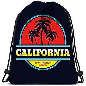 51ZFLxlhWiL. SS300  - JHUIK Bolso con cordón Mochila Escolar mochilaMochila con cordón California Santa Monica Beach Concept en Estilo Vintage…