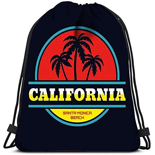 JHUIK Bolso con cordón Mochila Escolar mochilaMochila con cordón California Santa Monica Beach Concept en Estilo Vintage…