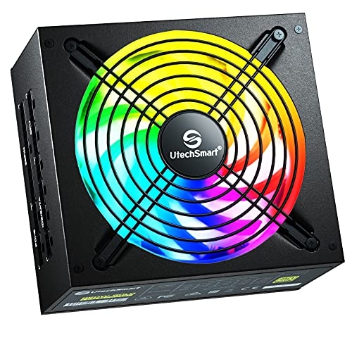 Power Supply, UtechSmart 850W Fully Modular 80 Plus Gold Certified PSU 850 PC RGB Power Supply with 140mm Fan ATX PSU RGB Lights Memory&Vairous Color Mode