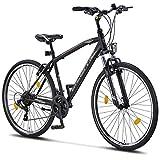 Licorne Bike Premium Trekking Bike in 28 Zoll - Fahrrad für Jungen, Mädchen, Damen und Herren - Shimano 21 Gang-Schaltung - Herrenfahrrad - Jungenfahrrad - Life M-V - Schwarz/Grau