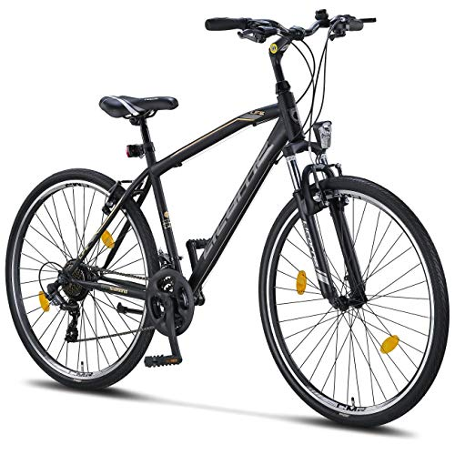 Licorne Bike Life M-V (Schwarz/Grau) 28 Zoll Cross, Trekking, Mountainbike, MTB, geeignet ab 150 cm, Shimano 21 Gang-Schaltung, Gabelfederung, Jungen-Fahrrad & Herren-Fahrrad, Männerfahrrad