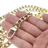"""Get HAHIYO Purse Chain Strap Length 51.2 inches SPOT-ON Gold for Shoulder Cross Body Sling Purse Handbag Clutch Replacement Strap Comfortable Flat 0.4"""" Wide Enough 2.4mm Extra Thick Metal Strap 1 Pack Just for $9.99"""
