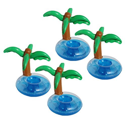 LUOEM Inflatable Palm Trees Pool Drink Holder Coconut Trees Drink Cup Holder Beach Backdrop Party Favors Decoration for Hawaiian Luau Party,Pack of 4