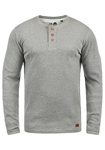 !Solid Tokato Herren Longsleeve Langarmshirt Shirt Mit Rundhalsausschnitt, Größe:M, Farbe:Grey Melange (8236)