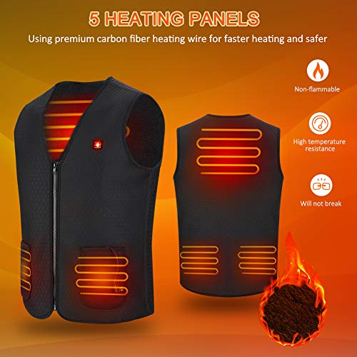 Haofy Heated Vest Electric Heated Jacket for Women Men, Heated Clothes USB Charging Heated Gilet Body Warmer Vest Heat Waistcoat with 3 Temperature for Motorcycle Outdoor Hunting Camping Hiking Skiing