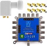 Bild des Produktes 'MULTISCHALTER Set Anadol Zero Watt inklusive Quad LNB - Stromloser Multiswitch für Satellit mit LNB für 8 Teil'
