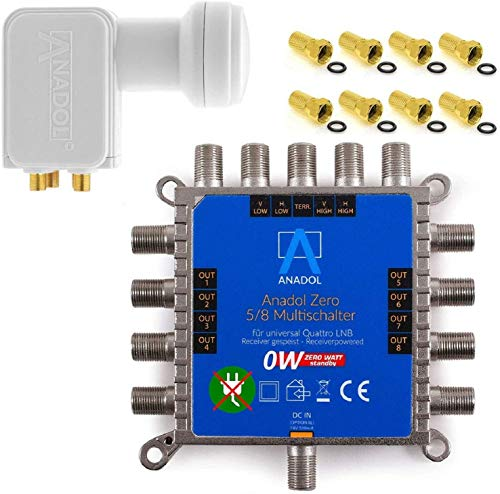 MULTISCHALTER Set Anadol Zero Watt inklusive Quad LNB - Stromloser Multiswitch für Satellit mit LNB für 8 Teilnehmer -Multischalter ist für Quad & Quattro LNB`s geeignet