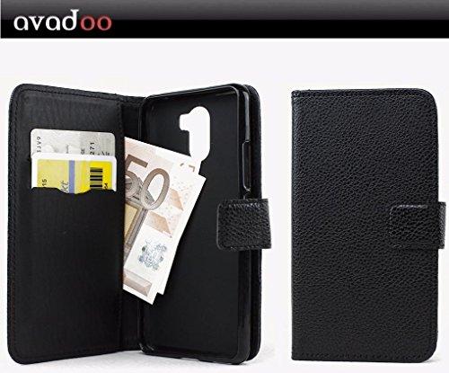avadoo® Wileyfox Swift 2 Plus Flip Hülle Cover Tasche Schwarz mit Magnetverschluss & Dualnaht als Cover Tasche Hülle