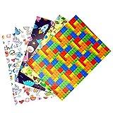 ARKRAFT Carta da Regalo per Confezionamento Regali 5 Fogli 100x 70 cm 100% Carta Disegni con Feste Razzi Tetris Animali(Festa 4)