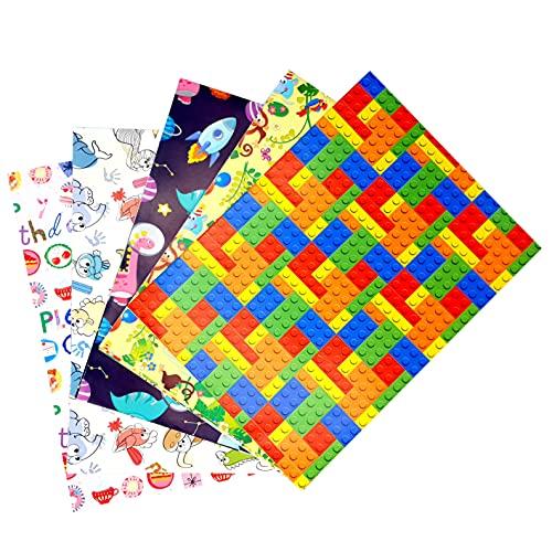 ARCA Carta da Regalo per Confezionamento Regali 5 Fogli 100x 70 cm 100% Carta Disegni con Feste Razzi Tetris Animali(Festa 4)