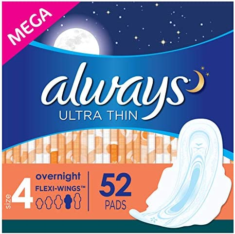 Always Ultra Thin Feminine Pads for Women Size 4 Overnight Absorbency Unscented with Wings 52 product image