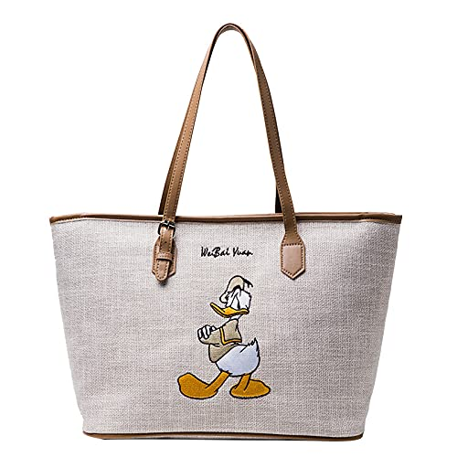 Mickey Mouse Einkaufstasche Shopper Disney Umhängetasche Große Kapazität Mickey Maus Handtasche Zipper Cartoon Tasche Schultertasche Casual Damen (Donald Duck)