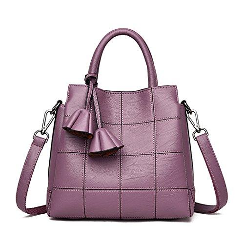 Plaid Handtasche Damen Schultertasche Handtaschen Damen Berühmte Designer Rose Tassel Damen Lila