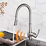 Touchless Kitchen Faucet Automatic Motion Sensor Single Handle with 2 Modes Pull Down Sprayer, Brushed Nickel Sink Faucet with Fingerprints Resistant,Single Hole and 3 Hole Deck Mount,Qomolangma