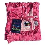 Baby Girls Reversible Minky Velboa Stroller Blanket (Choose Color) (Hot Pink Star/Pink Dot)