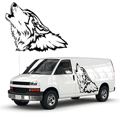 heulender Wolf Autoaufkleber Schöne Tiermotive als Tattoo für das Fahrzeug Wölfe Sticker  KB211V2