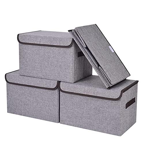 Bagnizer Contenedores de almacenamiento de tela con tapa y asas, paquete de 4 cubos apilables plegables de almacenamiento, cesta de almacenamiento para estantería, armarios para organizar, contenedores de almacenamiento debajo de la cama