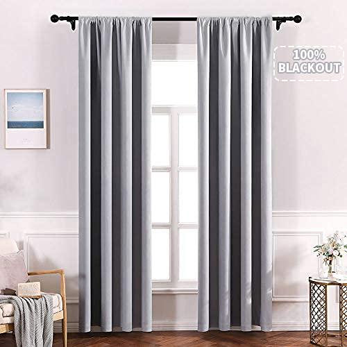 MIULEE Verdunkelungsvorhänge für Schlafzimmer, 100 % Verdunkelung und Wärmedämmung, 2 Paneele, B 52 x L 213,4...