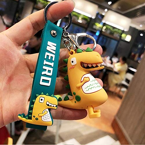 jsobh Keychains HOT Fashion Cute Dinosaur Keychain Key Ring Cartoon animal Key Chain Car Bag pendant Key Ring gifts for kids Cartoons (Color : Red)