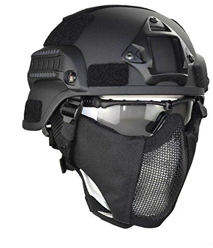 Jadedragon MICH 2000 Style ACH Taktischer Helm mit Ohrschutz, faltbar, doppelte Träger, Halbgesichtsmaske und Brille, Schwarz