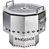 INNO STAGE Patented Smokeless Fire Bowl Pit with Barbecue Brill for Outdoor Wood Pellet Burning Spark with Portable Carrying Bag, Firepit Grill of Fireplace Stove for Picnic Camping Cooking on Beach