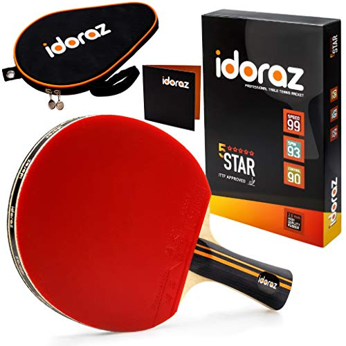 Idoraz Ping Pong Paddle Professional Racket  Table Tennis Racket with Carrying Case – ITTF Approved Rubber for Tournament Play