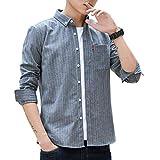 Camisa de Vestir Ajustada a la Moda para Hombres Camisa Informal de Manga Larga con Botones, Camisa de Negocios Informal y cómoda con Estampado de Rayas clásicas 4XL