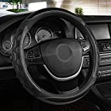 Black Panther Luxury Leather Car Steering Wheel Cover with 3D Honeycomb Hole Anti-Slip Design, 15...