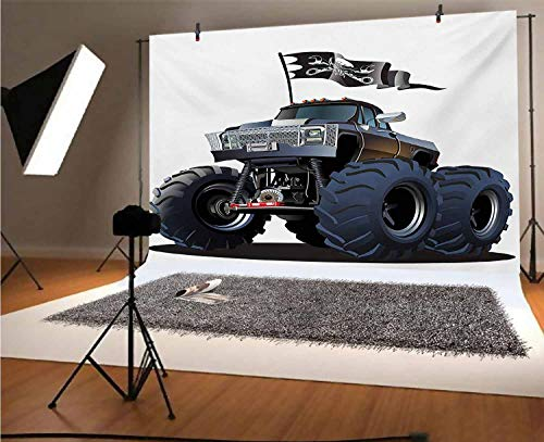 Cars 10x8 FT Vinyl Photo Backdrops,Popular Large Suspension Monster Truck Dead Skull Pirate Flag Off to Road Art Background for Selfie Birthday Party Pictures Photo Booth Shoot