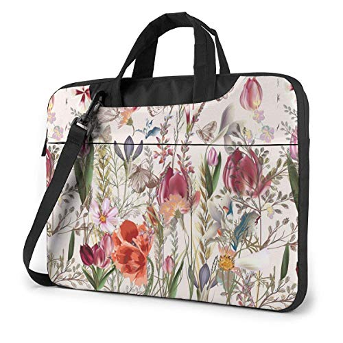 Vintage Flower with Assorted Plants Funny Laptop Case Laptop Shoulder Messenger Bag Sleeve for 13 To15.6 Inch