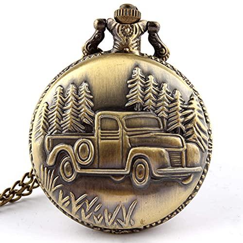 DIHAO Coche Antiguo camión Colgante Reloj de Bolsillo de Cuarzo Collar Cadena para Hombre Nuevo Regalo