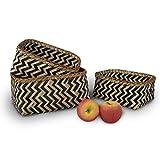 Made Terra Set di 3 cestini rettangolari in bambù intrecciati, cestino decorativo fatto a mano, organizer per casa, soggiorno, bagno, vestiario, lavanderia, giocattolo per bambini