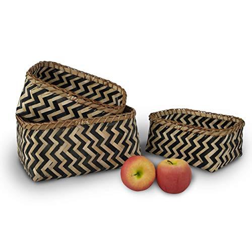 Juego 3 cestas de almacenamiento rectangulares de bambú tejidas, hechas a mano, decoración de almacenamiento, cesta organizadora para el hogar,sala de estar,baño, vestidor de bebé, juguete para niños