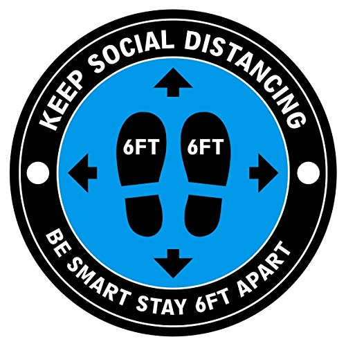 Social Distancing Floor Decals | 30 Pack 8' Blue Stand Floor Stickers & Spatula Scraper | 6 Feet Distance Floor Covid Sign | Vinyl Stickers for Classroom, Grocery, Pharmacy, Office, Small Shops