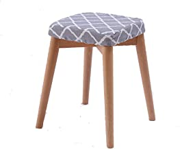 Ottoman with Solid Wood Leg, Upholstered Padded Stool,Suitable for Living Room and Bedroom