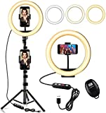"""StillCool 10"""" Selfie Ring Light with 61"""" Extendable Tripod Stand & 2 Phone Holder for TikTok,YouTube,Vlog,Live Stream,Video Recording,Makeup,Take Photo,Reading,Working, Compatible with iPhone/Android"""