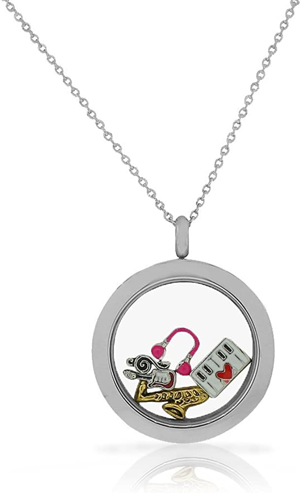 5% OFF EDFORCE Stainless Steel Music Piano Pend Saxophone Fashion Guitar Locket