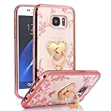 Galaxy S7 Case, S7 Case, CaseUp Glitter Crystal Heart Floral Series - Slim Luxury Bling Rhinestone Clear TPU Case With Ring Stand For Samsung Galaxy S7, Rose Gold