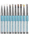 10 Pcs Kolinsky Sable Hair Acrylic Nail Art Application Brushes With Cap , Nail Art Tips Builder Brush, Nail Painting Brush set.