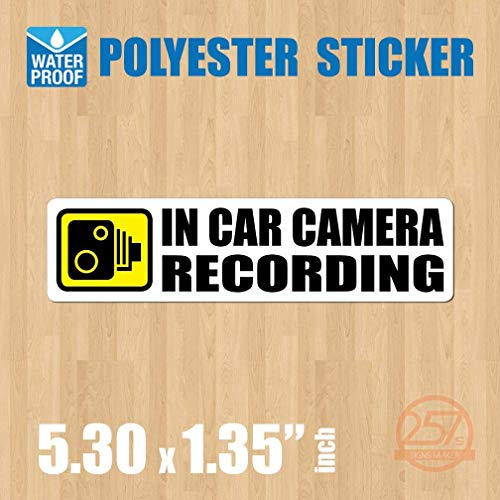 (Pack of 4 pcs) in Car Camera Recording Sticker Dash Cam on Board Video Label Bumper Baby Safe Decal [White]