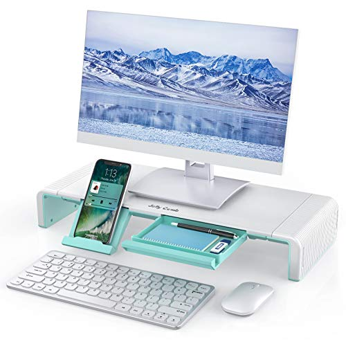 Monitor Stand Riser, Jelly Comb Foldable Computer Monitor Riser, Computer Stand with Storage Drawer, Phone Stand for Computer, Desktop, Laptop, Save Space (White&Green)